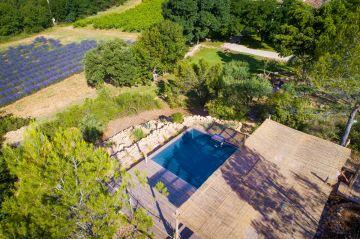 La piscine vue de haut : une tonnelle, une Piscinelle, une pinède et quelques abeilles dans le champ d'à côté... le bonheur de pouvoir déconnecter enfin.