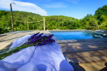 La piscine est implantée en plein paysage du sud. Le ciel bleu, la garrigue verte, le violet des lavandes, on sent la résine des pins alentour et on se souvient de nos grandes vacances d'enfant... le rêve.