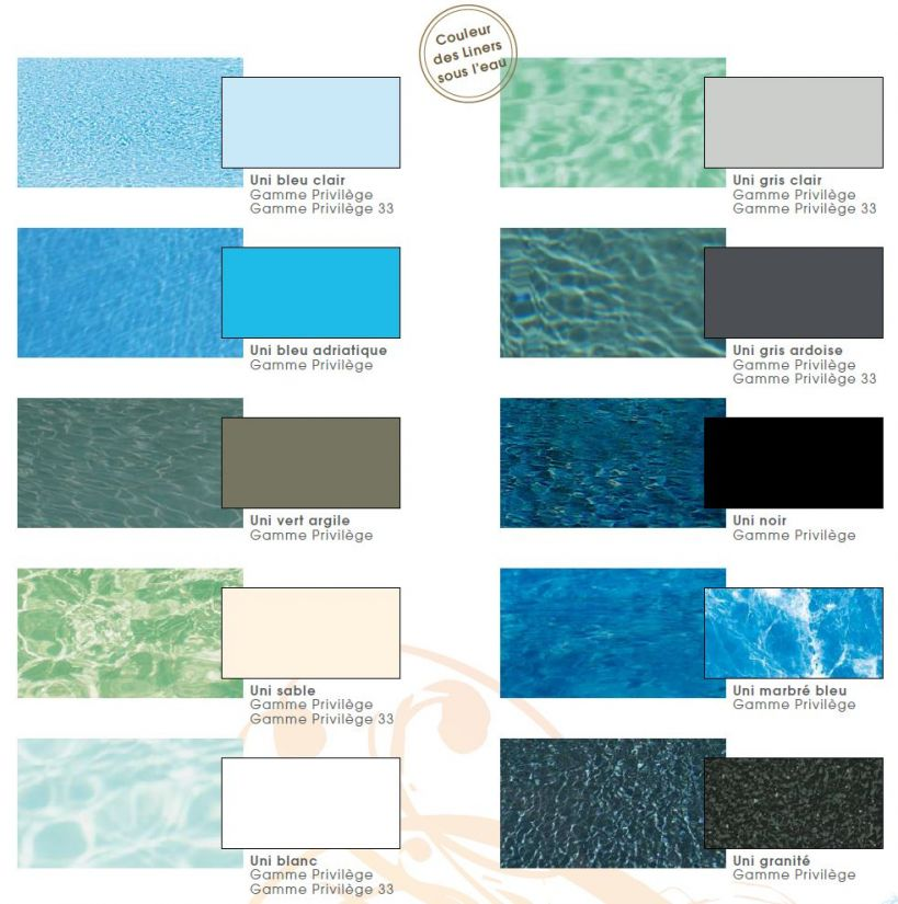 A selection of water and liner colours for swimming pools