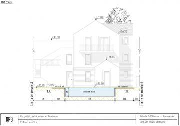 Exemple de projection 2D pour le dossier de déclaration préalable de travaux en mairie.