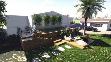 Exemple de projection 3D pour la réalisation d'une piscine avec architecte.