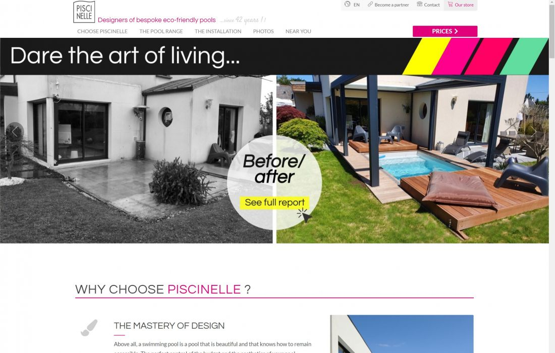 Home du site Piscinelle.com en version anglaise.
