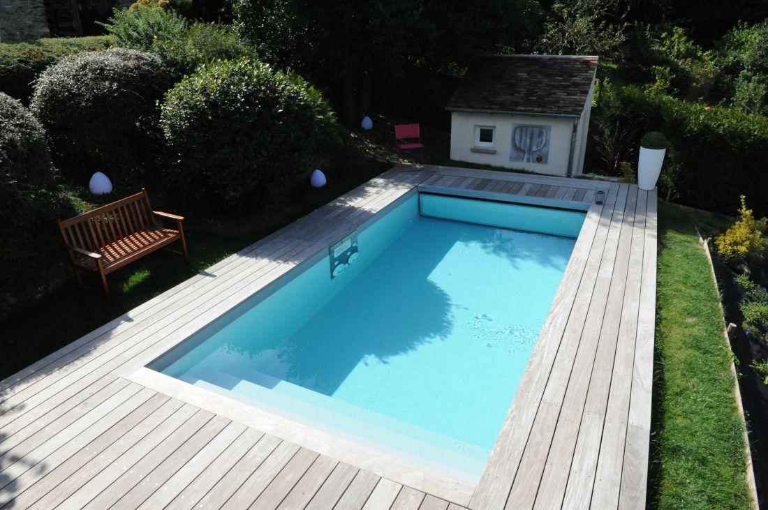 Margelle de piscine ipé design plus piscinelle