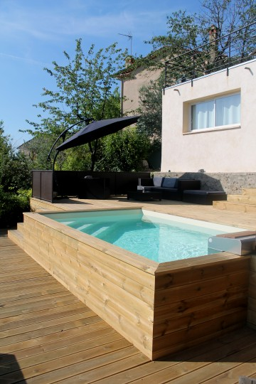 Above-ground pool wooden cladding