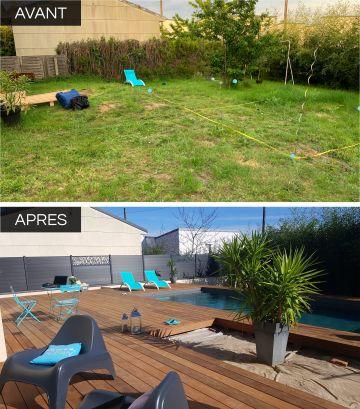 Montage d'un avant/après implantation d'une Pisicnelle dans un jardin.