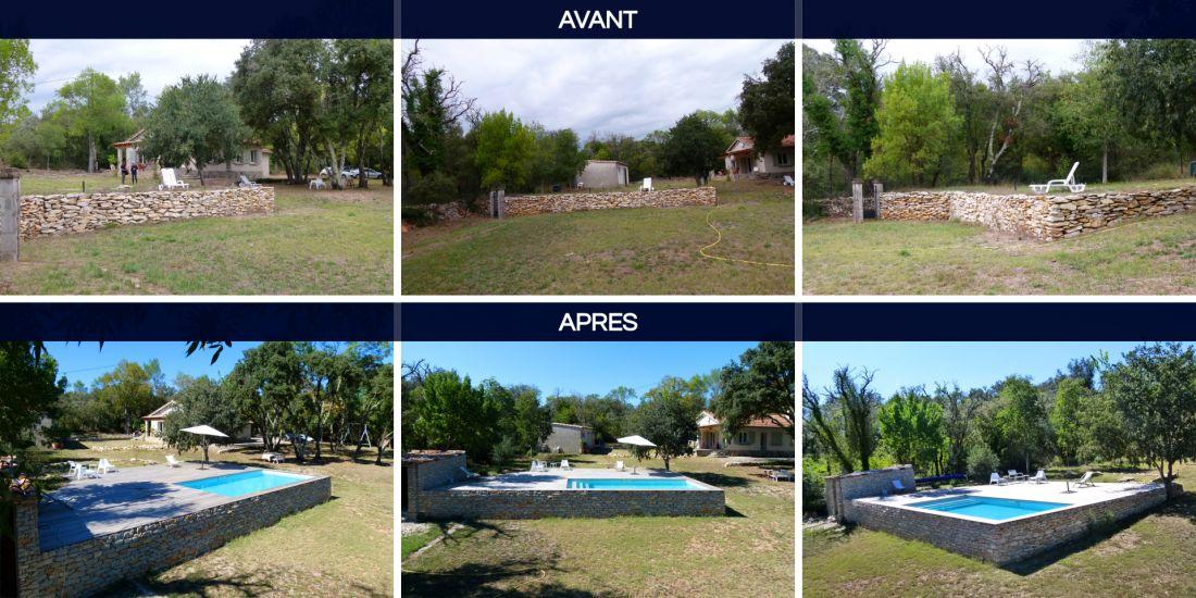 Avant / après l'implantation de la piscine vue depuis trois angles différents
