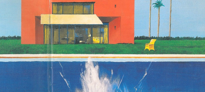 Couverture du catalogue Piscinelle en 2003 inspirée de l'oeuvre du peintre David Hockney.