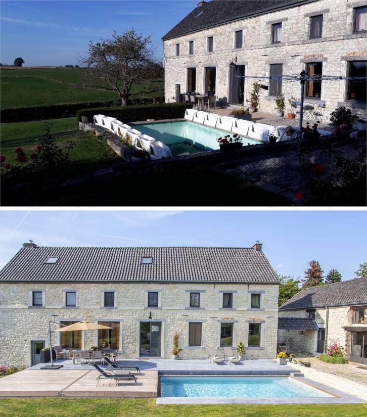Rénovation de piscine en Belgique avec une terrasse mobile de piscine.