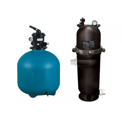 Sand or cartridge filters for swimming pools