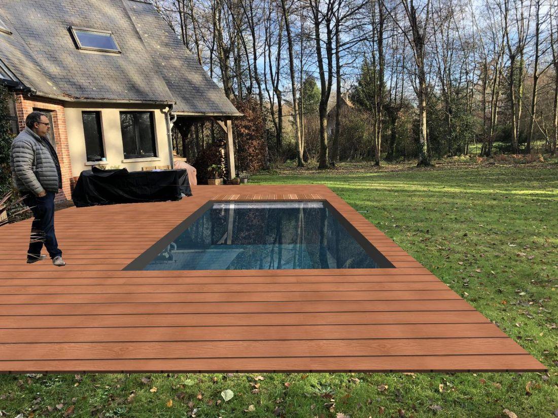 Exemple d'implantation de piscine en 3D proposée au prospect lors du premier rendez-vous.
