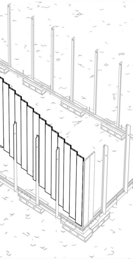 Assemblage des palplanches en aluminium double-peau de la structure Piscinelle.