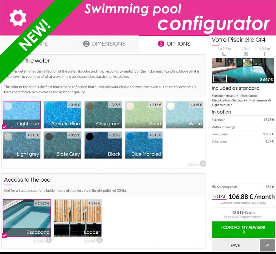 New Piscinelle online pool quotation configurator!