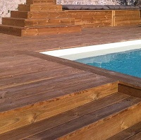 Pine swimming pool deck