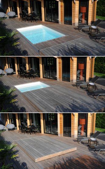 Une terrasse mobile de piscine Rolling-Deck dans ses 3 positions